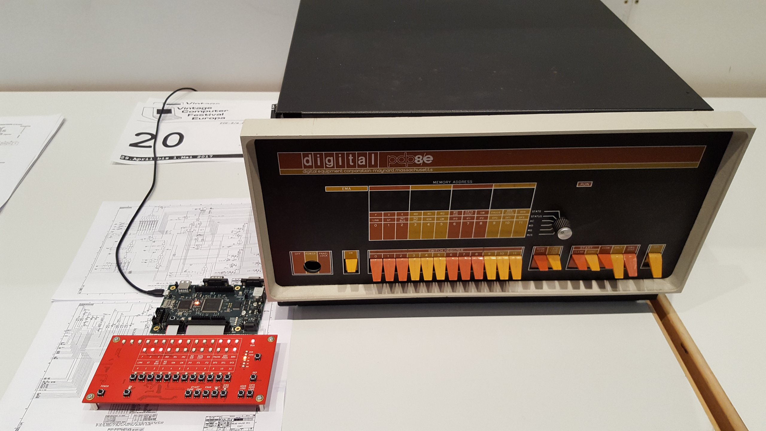 My implementation on display next to a real PDP-8/e at VCFe 18.0